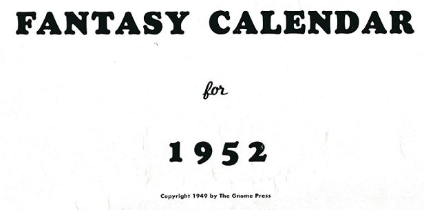 1952 Gnome Press Calendar cover